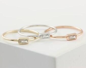 Baguette Ring, Silver Baguette Ring, Sterling Silver Stacking Ring, Gold Baguette Ring, Silver Zirconia Ring, Stacking Gold Ring, SR0409