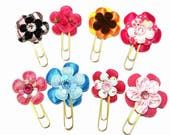 Flower planner clip, planner accessories, flower bookmark, journal clip, page marker, teacher gift, pink yellow, gold paperclip, jumbo clip