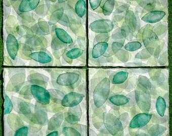 Set of four original watercolors. Green. Leaves.