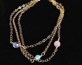 Multi Chain Bracelet/ Opalite Bracelet/ Cape Amethyst Bracelet/ Gemstone Bracelets/ Multi Chain Gemstone Bracelet