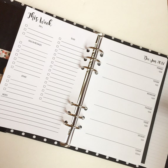 Week On One Page W/Lists  - Printed Planner Inserts | Dated | Half Letter Size for A5 Planner