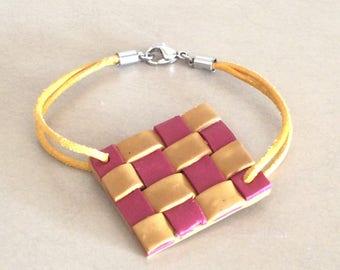 Polymer bracelet, yellow bracelet, red bracelet, weaving bracelet, women bracelet, polymer jewel, gift for women, handmade jewel,
