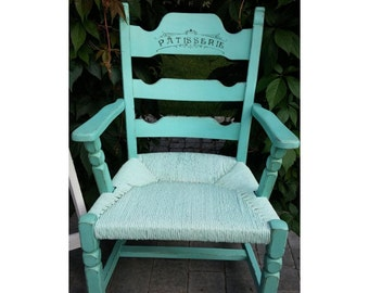 Turquoise wooden chair