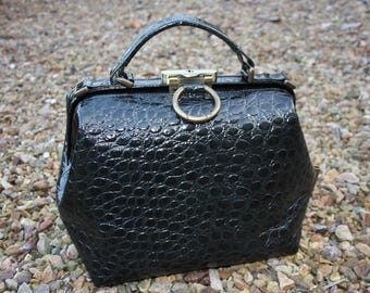 doctor's bag black reptile print