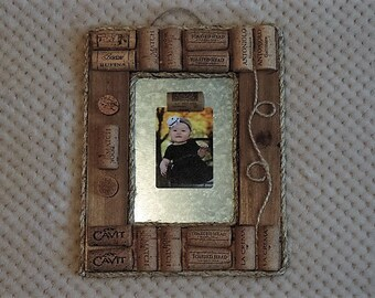 Unconventional wine cork photo frame or memo board - ready to ship
