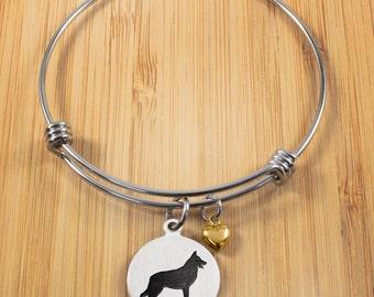German Shepherd Charm Bracelet | Stainless Steel Adjustable Bangle | German Shepherd Bangle Bracelets | Dog Bracelets