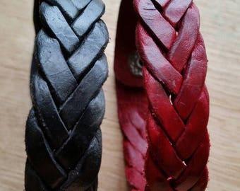 Two friendship bracelet, leather bangle, leather bracelet, black red bracelet, leather bracelet men's bracelet, stackable bracelet hand made