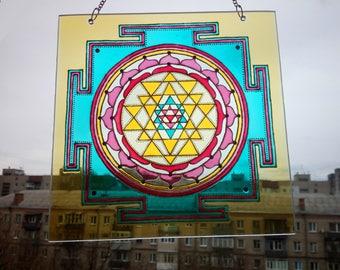 Glass Sri yantra, mandala, sacred geometry, painting on glass, glass suncatcher