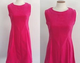 60s dress / 60s hot pink fuchsia velvet dress / 60s shift dress / Valentine's Day dress / small S medium M