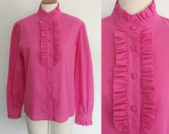 1970s hot pink ruffle blouse / 70s blouse / Valentine's Day shirt / medium M large L