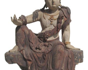 Chinese Antique Sitting Peaceful KwanYin Wooden Carving Statue wk2862E