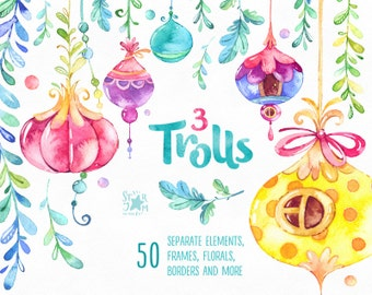 Trolls 3. Watercolor clip art, frames, borders, buntings, houses of trolls, florals, stickers, magic, flowers, baby, confetti, fairy tail