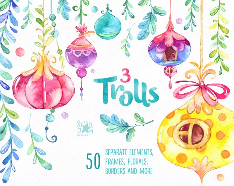 Trolls 3 Watercolor Clip Art Frames Borders Buntings Houses Of
