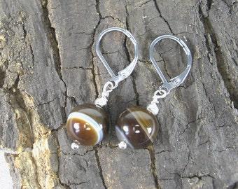 Earrings Coffee Brown Agate
