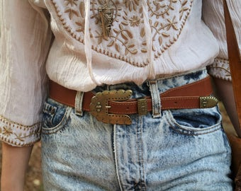 Vintage Western Style Brown Leather Belt