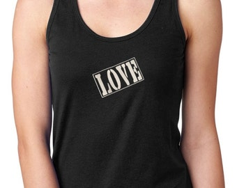 LOVE STAMP racer back yoga activewear Style 153  Cotton/Poly 60/40  THREE (3) versions.