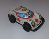 Ambulance tinplate plastic friction toy car vintage c1960s toy made in Japan No7
