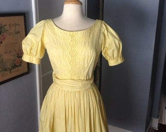 1950's yellow cotton Gay Gibson dress.