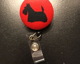 Badge holder, Red and black scottie button badge reel