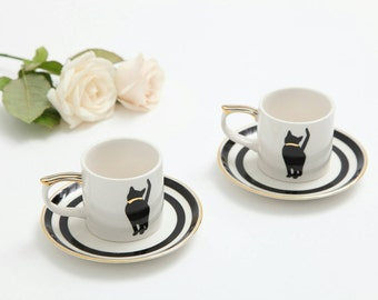 Chanel style cat espresso cup&saucer - set of 2