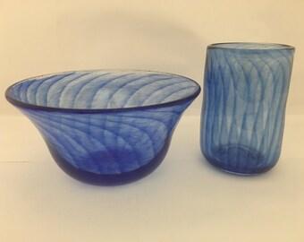Handmade Cobalt Blue bowl and glass set