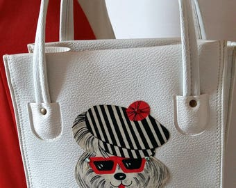 60s Purse Vintage Handbag Tote Beach Summer Fort Lauderdale Pegie by the Sea Poodle Vacation White French Poodle 1960s