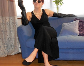 Audrey Hepburn-Style Long Black Evening Dress. Breakfast at Tiffany's Dress. Long Black Faux Leather Gloves.