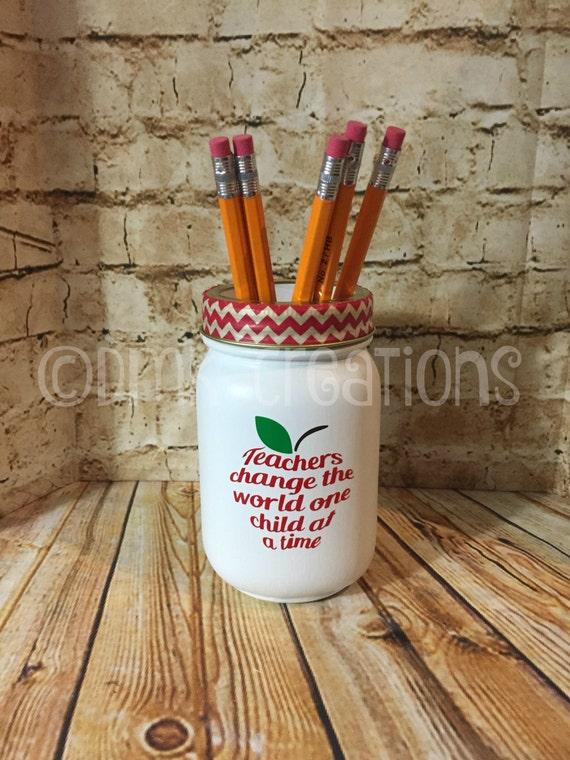 Teacher Apple Painted Mason Jar Pencil Holder Painted Mason