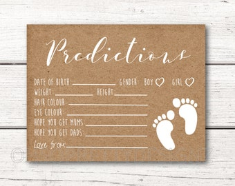 Printable Baby Shower Prediction Cards - DIY - Rustic Kraft Paper - Baby Feet - Gender Neutral - Instant Download DESIGN 011
