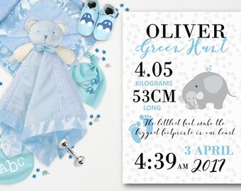 Personalized Nursery Wall Art - Blue, Grey, Elephant - Birth Announcement Stats - Printable File DESIGN 115