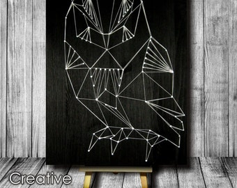 String Art OWL Home decor  Picture for bar Snowy Owl Pictures String Wall Art Large Owl Pictures String Art For Sale Big Owl Pictures