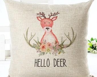 Woodland Critter Deer Watercolour Nursery Decor Cushion Cover Cotton Blend Hessian Look