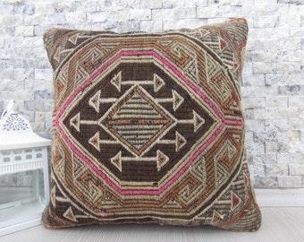 """uncommon vintage antique kilim rug pillow case handmade kilim pillow 16"""" x 16"""" turkey pillow kilim cushion bohemian pillow decorative pillow"""