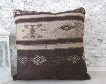 natural wool large kilim pillow 24x24 home decor armchair pillow floor cushion 24x24 boho pillow embroidery pillow ethnic pillow wool pillow