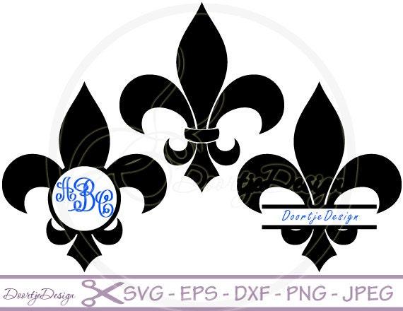 SVG Fleur De Lis, Split Monogram Frames, DXF PNG Eps, Cut