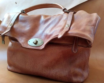 Leather hand bag/Soft Italian Leather Handbag/Borsa in pelle/Сумка кожанная.I offer  shipping for free!!!