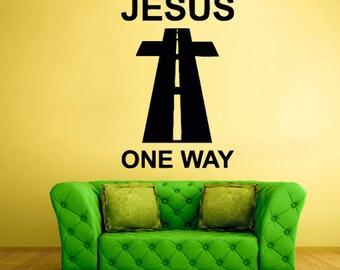 rvz2132 Wall Vinyl Decal Sticker Cross Prayer Pray God Jesus One Way Christianity