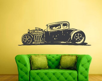rvz2358 Wall Decal Vinyl Decal Sticker Decal Hot Rod Car Auto Automobile Retro Muscule