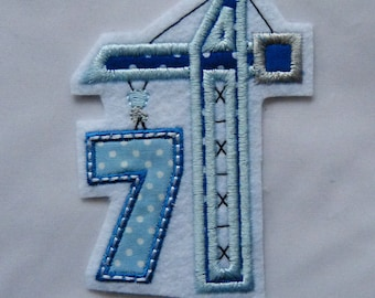 Birthday number 7 with crane, patches, application