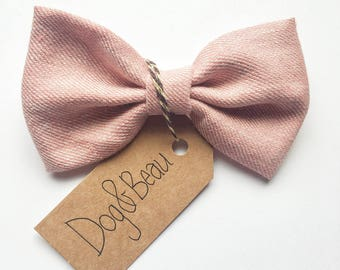 dog bow tie, tweed dog bow tie, pink dog bow tie, dog clothing, puppy bow tie, detachable bow tie, pet bow tie, blue bow tie