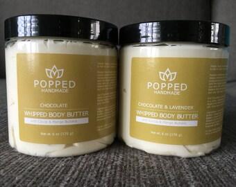 Body Butter, Handmade, Whipped, Cocoa Butter, Mango Butter, Kokum Butter, Shea Butter, Sweet Almond Oil, Coconut Oil, Set of Two 6 oz jars
