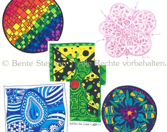 Set of 5 greeting cards and envelopes - motifs: free choice