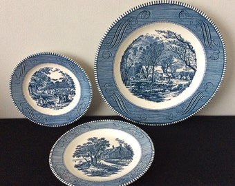 Royal China Currier & Ives Blue 3- Piece Place Setting - Only 3 Left!!