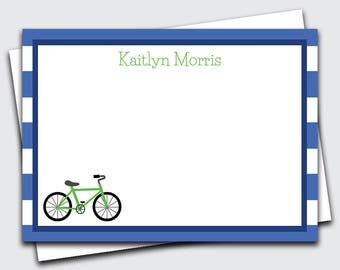 Personalized Kids Note Cards / Bicycle / Note Cards / Bicycle Thank You Cards (Item #1702-071FL)