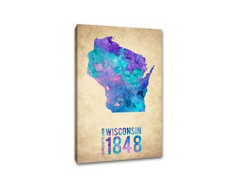 Wisconsin - Water Color State Outline - Canvas Print - State Pride Watercolor