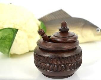 Sale 25%! Wood carving, wooden carved salt cellar with spoon, salt box wooden, salt cellar with lid, wood kitchen canister