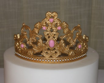 100% Edible fondant gum paste  Princess Tiara Cake girl birthday party gold crown tiara