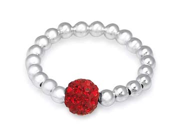 Sterling Silver Stretch Ring - Ruby Red Shamballa