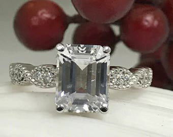 White Sapphire and Diamond Engagement / Promise/ Wedding Ring with Milgrain Design in 14K White gold #5051