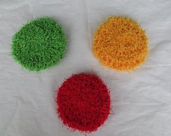 Set of three scrubbies, kitchen scrubbers, dish scrubbies, facial cleaners, pot scrubby,cleaning supplies, kitchen or bathroom,
